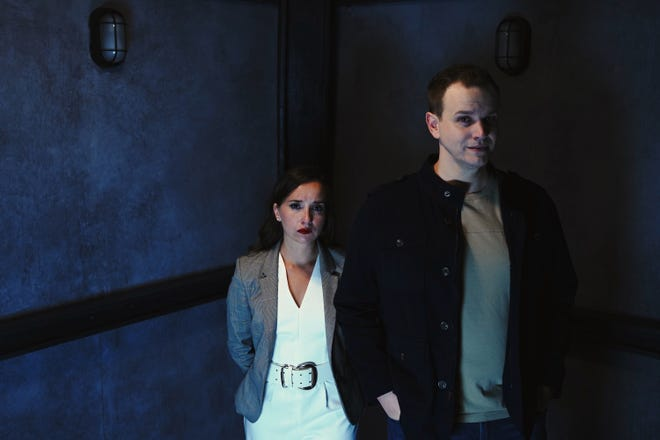 """Krystal Millie Valdes, left, and Chris Hayhurst play a couple facing some challenges requiring the help of audience members in """"Safe House"""" at Urbanite Theatre."""