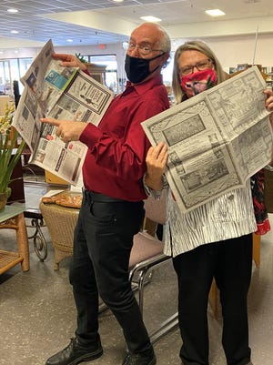 """""""Growing Bolder"""" host Bill Shafer and Patti Clark, founder of the Happy Thrifter Mystery Resale Shopping Bus Tours."""