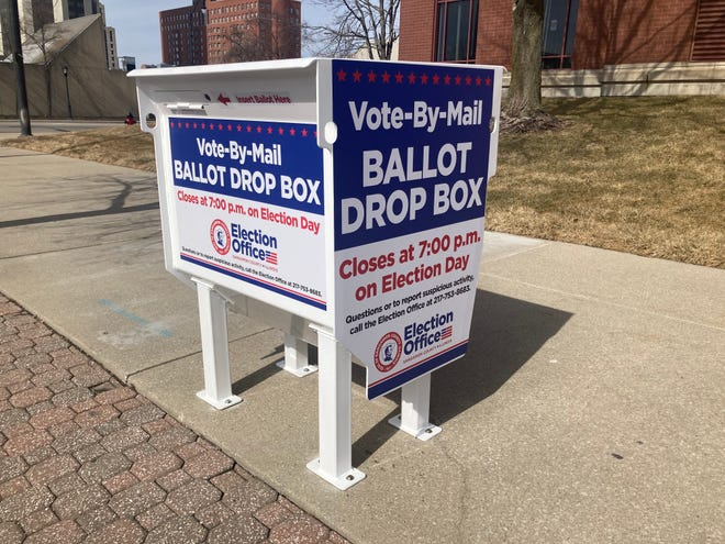 The ballot drop box at Ninth and Monroe streets, outside of the Sangamon County Building, is accessible 24/7 and no postage is necessary for returning ballots for the April 6 consolidated election, County Clerk Don Gray said. [Steven Spearie/The State Journal-Register]
