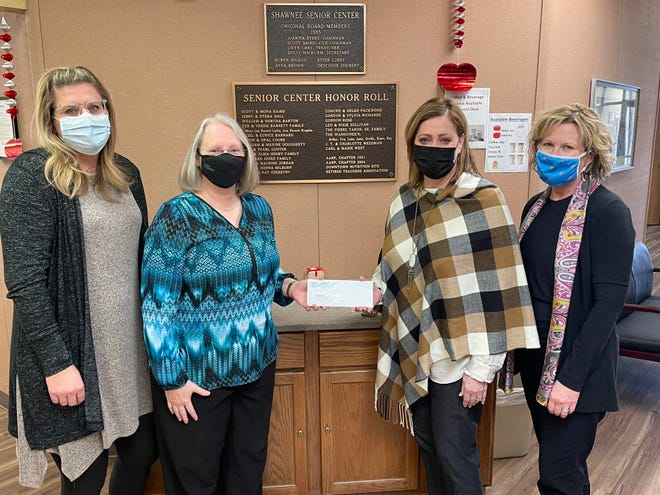 Shown, from left, are Kerri Foster, recreation manager for the City of Shawnee; Recreation Facility Supervisor Amy Riggins; Dr. Kathy Laster, president and CEO of the Avedis Foundation; and Avedis Program Officer Audrey Seeliger. An Avedis Foundation grant was recently awarded to Shawnee's Senior Center.