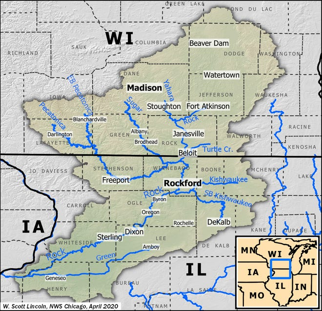 The Rock River drainage basin in northern Illinois.