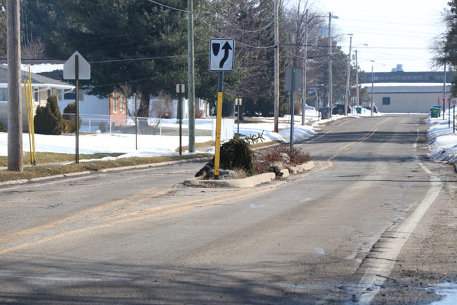This traffic island along East Congress Street will be marked for removal this summer during a street improvement project.