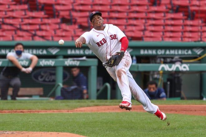 Red Sox third baseman Rafael Devers remains mindful of his defense.