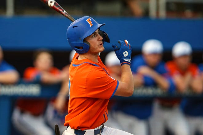 Florida outfielder Jud Fabian homered twice and drove in five runs Wednesday to help the Gators get past North Florida at Florida Ballpark.