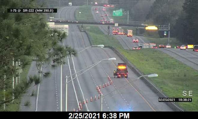Northbound traffic is closed on I-75 at the 39th Avenue overpass Thursday evening.