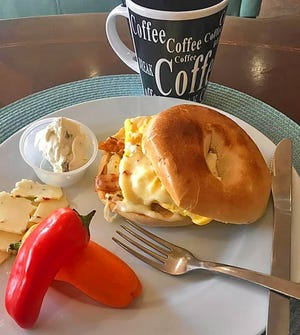 The Cowboy Bagel featuring egg, bacon, pepper jack cheese and green chili cream cheese is one of the many meals offered at Mae's Café and Espresso in Pueblo West.