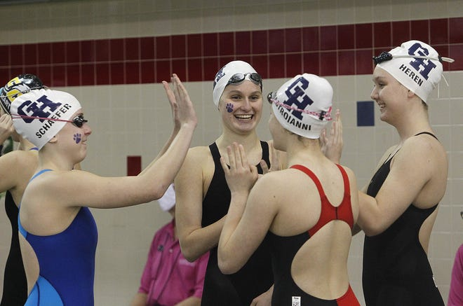 Grandview's Sam Schaefer, Phoebe Ferguson, Lucia Mastroianni and Jada Heren get ready to swim in the 200 freestyle relay in the Division II state meet Feb. 24 at Branin Natatorium in Canton. In individual events, Ferguson placed third in the 200 individual medley and fifth in the 100 butterfly.