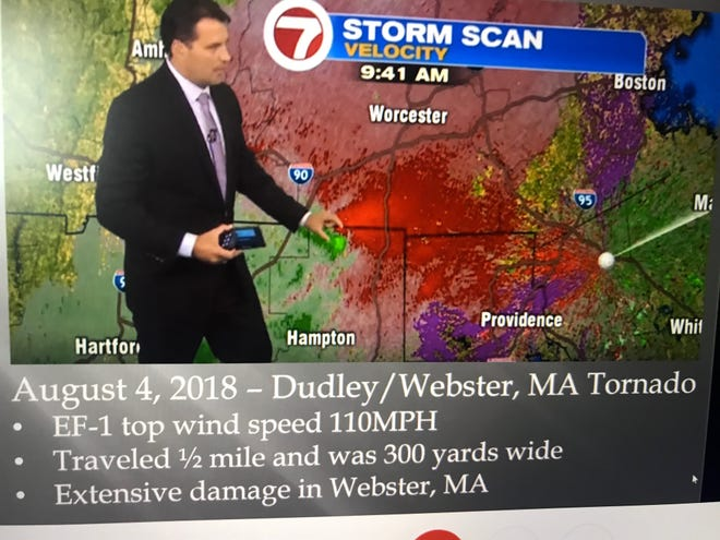 Meteorologist David Bagley discusses a tornado on a 7News Boston broadcast in 2018.