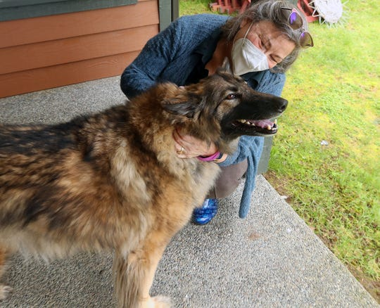 Retired Kitsap County Superior Court Judge Jeanette Dalton gives her dog Olive a hug at her home in Kingston on Feb. 24. Dalton chose not to run for re-election in 2020 and retired in January after 12 years as a superior court judge.