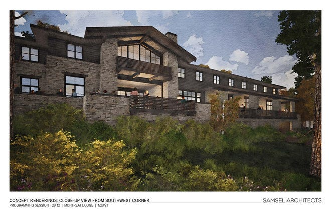 A concept rendering of the proposed Assembly Drive lodge.
