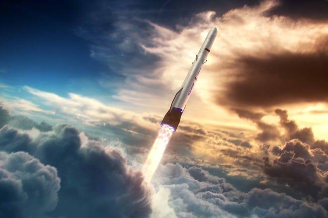 Blue Origin's 313-foot New Glenn rocket is seen this artist's rendering released by the company.  - 3f5a9372 f13b 4160 9bd0 237b34b12173 blueorigin newglenn ascent web - SpaceX and Blue Origin only two of the companies seeking new Space Age