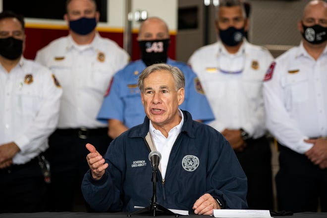 Texas Gov. Greg Abbott announces a statewide Saving Our Seniors COVID-19 vaccine program during a press conference at Corpus Christi's Fire Station 18 on Thursday, Feb. 25, 2021.