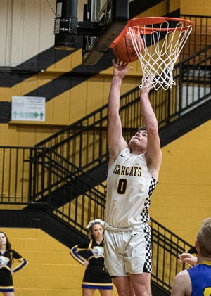 Cordell Grubb takes it to the rim Wednesday night at Paint Valley High School in Bainbridge, Ohio. Paint Valley defeated Clay 50-45 on Feb. 24, 2021.
