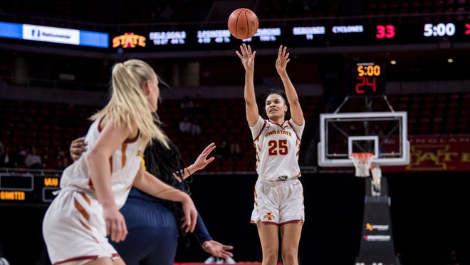 Iowa State senior Kristin Scott takes a shot in the first half of Wednesday's game against West Virginia.