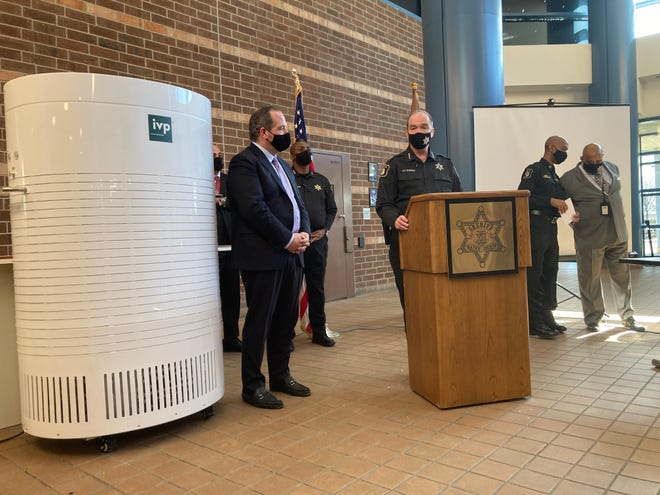 Undersheriff Daniel Pfannes speaks during the Wayne County Sheriff's Office reveal of its new COVID-19 prevention effort. The IVP system kills SARS-CoV-2 instantly using powerful circulation and a heated filter.