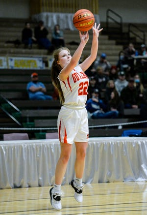 Roy-Winifred's Cadence Tillman shoots from the outside in Wednesday's game against Box Elder during the girls' Northern C Divisional Basketball Tournament at the Four Seasons Arena in Great Falls.
