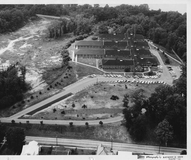 The original Community Methodist Hospital before the first major addition was built in 1968, showing the deep ravine that once paralleled 12th Street. Elm Street runs right to left in the foreground, and a bit of Merritt Drive can be seen at rear. This probably dates from the early to mid-1960s. (Gleaner file photo)