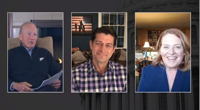 A screenshot of a virtual conversation moderated by Purdue President Mitch Daniels between former U.S. Speaker of the House Paul Ryan and Sen. Heidi Heitkamp, part of Purdue's Presidential Lecture Series.