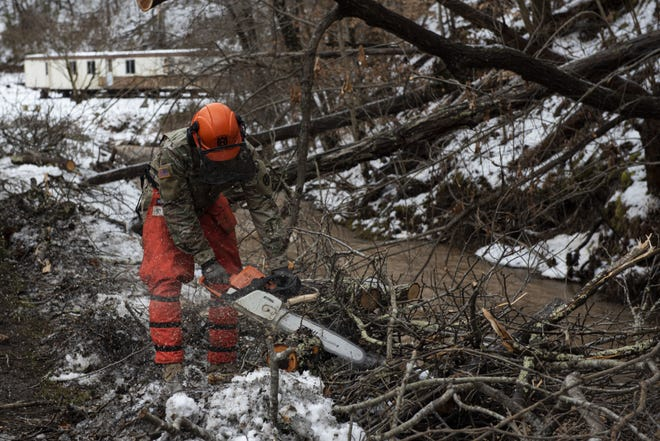 About 40 members of the Ohio National Guard's 200th RED HORSE Squadron in Port Clinton and Mansfield are assisting with ice storm cleanup in southern Ohio.