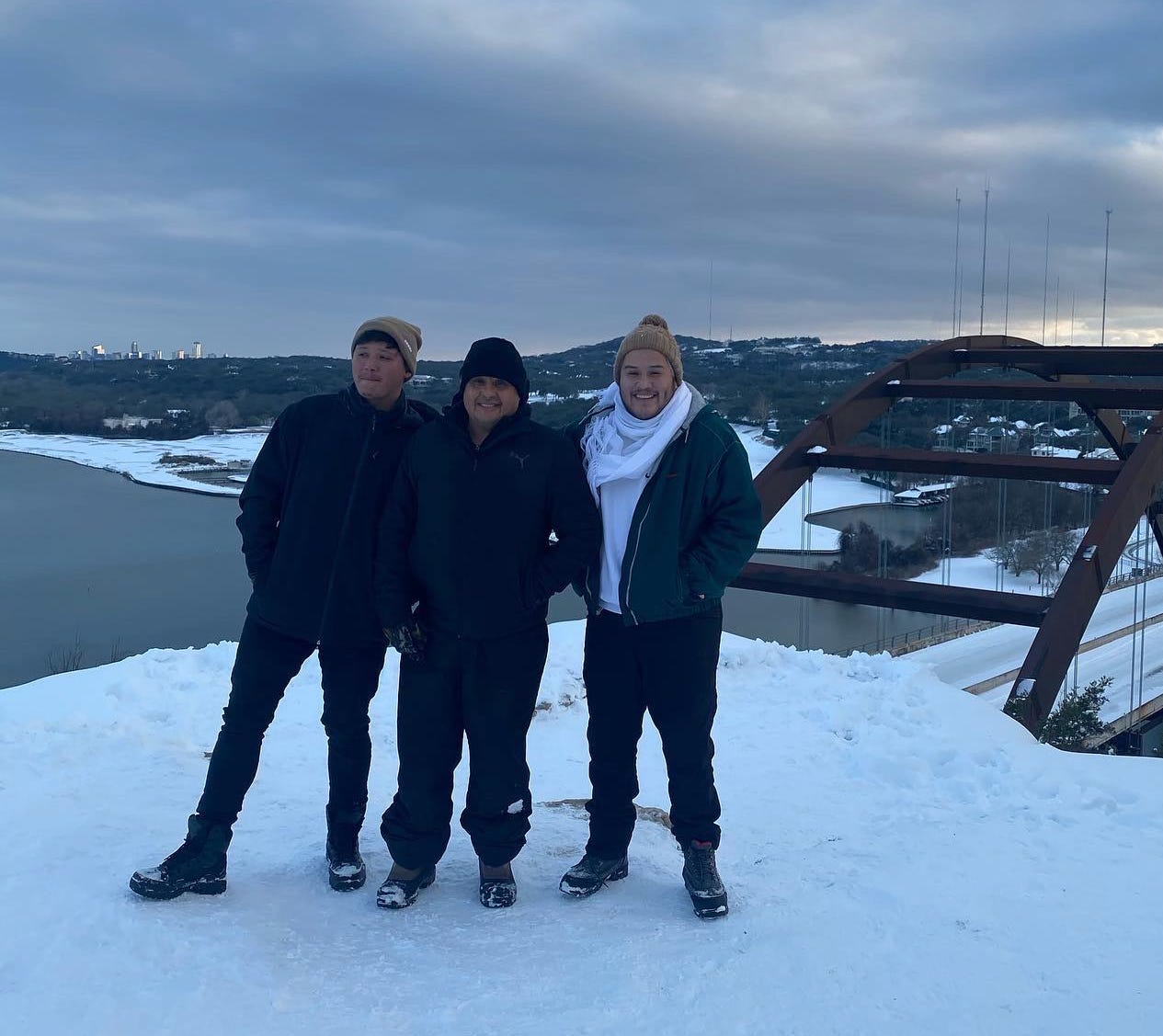 Left to right, Kevin, Ivan and Alan Ramirez during Austin's February snow and ice storm.