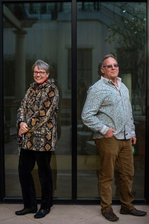 Ginny Bailey and Robert McNamara pose together at The Harpeth Franklin Downtown Thursday, Feb. 25, 2021, in Franklin, Tenn. Bailey and McNamara are two of the organizers of the first Franklin Pride, originally set for 2020 but with hopes to debut in 2021.