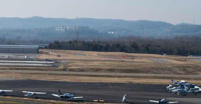 Metropolitan Nashville Airport Authority president Doug Kreulen shows construction at John C. Tune Airport, a $43.5 million redevelopment in Nashville, Tenn., Thursday, Feb. 25, 2021.