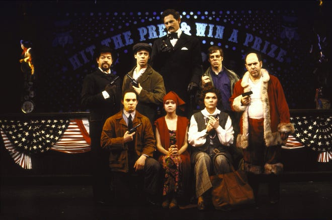 The cast of Assassins, a musical that examined the lives of people who assassinated, or attempted to assassinate, presidents of the United States.