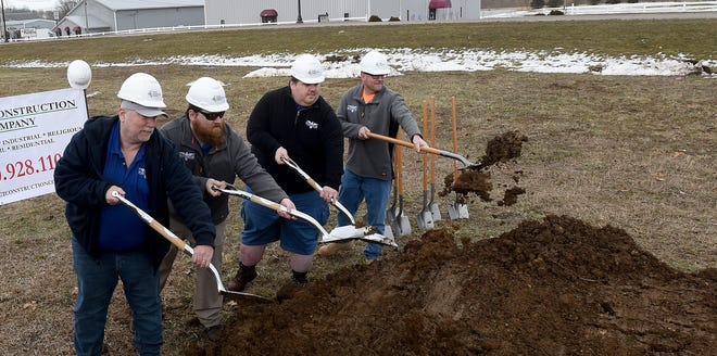 Bryan Bryner, Zack Bryner, Nick Bryner and Jim Hawke break ground for Buckeye Shooting Center on Newark's Far East side. The Bryner family's dream of providing a shooting range, retail store and classroom education in one location will become a reality in September. The family will close its store on North 21st Street when the new facility opens.