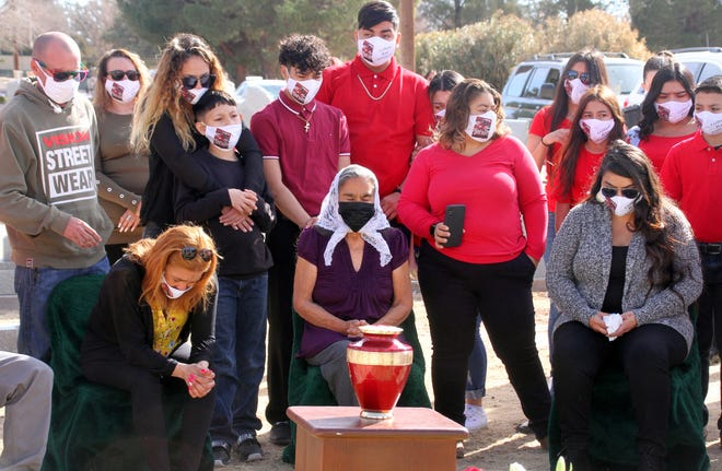 Family members of Gilbert Valencia gathered at his grave site to pay respects on Saturday, February 13, at Mountain View Cemetery in Deming, NM.
