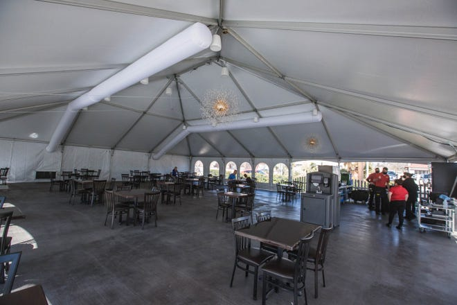 A Bite of Belgium invested in a large outdoor patio tent, which opened Thursday, Feb. 25, 2021. This allows the restaurant to serve regardless of the county's current color status.
