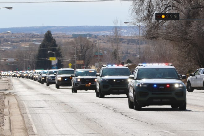 Area first responders led a procession on the afternoon of Feb. 25 along North First Street in Bloomfield for a San Juan County Sheriff's Office deputy who died on Feb. 18. The procession started at McGee Park and drove to a funeral in Colorado.