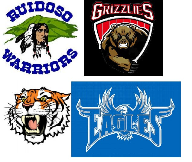 Ruidoso, Carrizozo, Capitan and Hondo Valley High School logos. All four teams are in Lincoln County, NM.