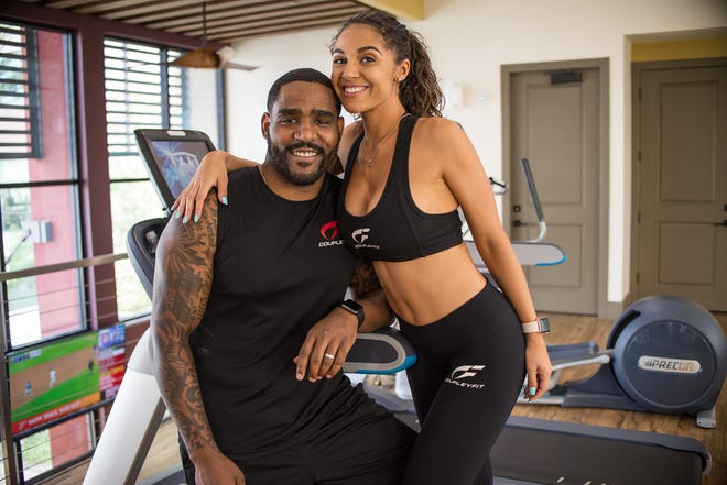 Kurt (left) and Deanna Mangum share their partner-based workouts on their joint Instagram account, @coupleyfitt.
