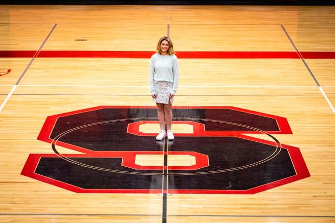 Sandusky High School junior Jenna Steeb poses for a portrait Wednesday, Feb. 24, 2021, in the school's gymnasium.