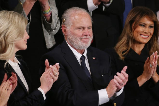 Radio personality Rush Limbaugh and wife Kathryn, left, attend the State of the Union address with first lady Melania Trump in the chamber of the U.S. House of Representatives on Feb. 4, 2020, in Washington, D.C. (Mario Tama/Getty Images/TNS)
