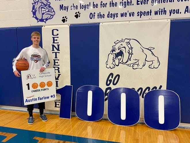 Centerville senior guard Austin Farlow scored his 1,000th point in the Bulldogs' 52-25 home win over Indiana Deaf on Wednesday, Feb. 24, 2021.
