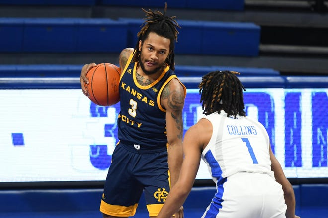 Brandon McKissic of Kansas City ranks among the Summit League leaders in scoring, shooting, assists and steals.