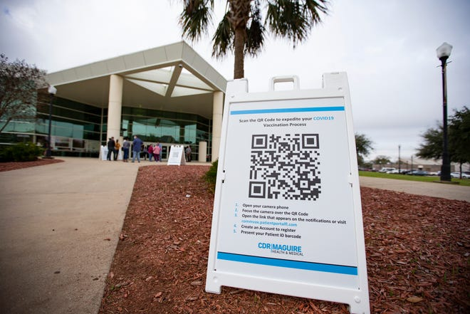 The entrance to the FAMU vaccination site inside the Lawson Center on Thursday, Feb. 25, 2021.