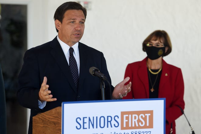 Florida Gov. Ron DeSantis holds a press briefing at Spanish Lakes Fairways, part of the 55-plus Spanish Lakes Communities in St. Lucie County, to announce COVID-19 vaccinations at specific communities on Thursday, Feb. 25, 2021. About 43,000 people have been vaccinated in St. Lucie County, according to the Florida Department of Health, about 81% of whom are 65 years and older.