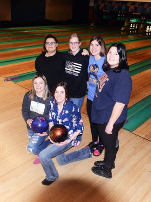 Samantha Fiore (top left), Natasha Bailey, Jazz Cozad, Courtney Jones, Jaslan Fornter, (bottom left) and Alexis McCord will represent the New Lexington bowling team in the Division II state tournament at Wayne Webb's Columbus Bowl. The Panthers are the first team in school history to reach the state tournament.