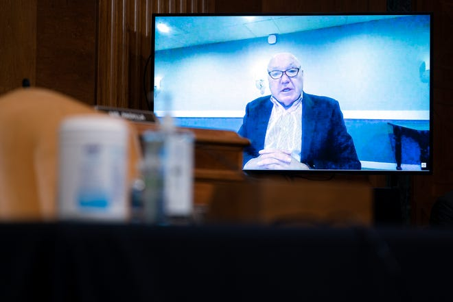 Craig Jelinek, Chief Executive Officer at Costco, speaks via video conference during a U.S. Senate Budget Committee hearing regarding wages at large corporations on Capitol Hill in Washington, Thursday, Feb. 25, 2021.