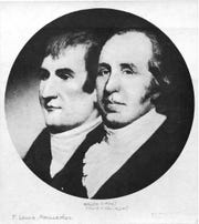 This is an undated photo of a portrait of explorers Meriwether Lewis, left, and William Clark.