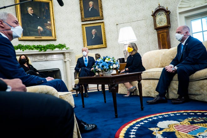 President Joe Biden met with governors and mayors in the Oval Office on Friday, Feb. 12, 2021.