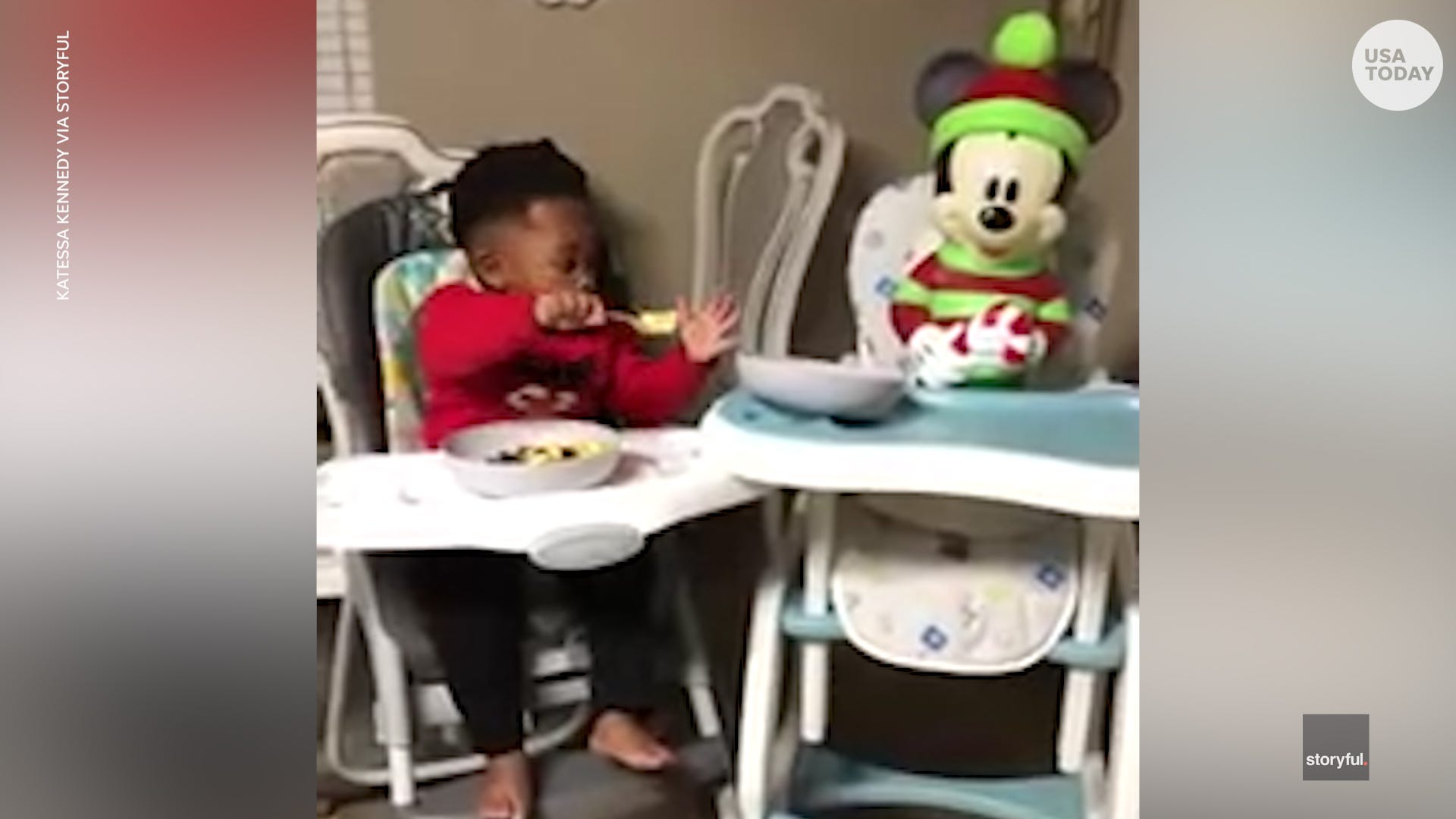 Generous toddler shares his breakfast with his buddy Mickey Mouse