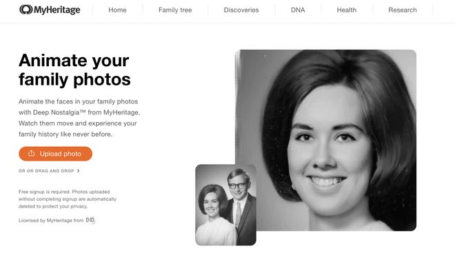 The genealogy platform MyHeritage released a feature that animates faces in still photos using video reenactment technology.