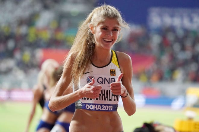 Germany's Konstanze Klosterhalfen, seen here at the 2019 IAAF World Athletics Championships, lapped the entire field and set a new German national record of 31:01.71 in the 10,000-meter race at this weekend's Texas Qualifier.