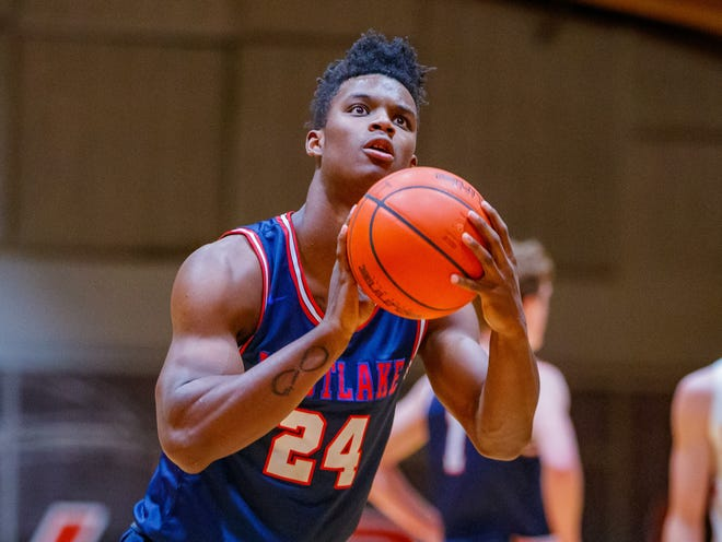 Westlake 's K.J. Adams scored 28 points as the Chaps qualified for the third round of the Class 6A state playoffs with a 71-38 win over San Antonio Roosevelt Thursday at Hays High School.