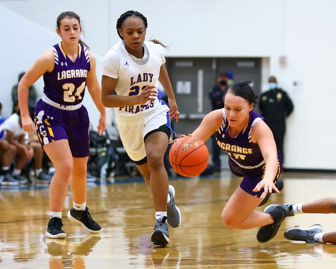 Kailee Jones is tripped at midcourt for La Grange in the final seconds of a Class 4A playoff game against Waco La Vega Feb. 25 at Georgetown High School. La Vega went on to defeat La Grange by a final score of 65-36.