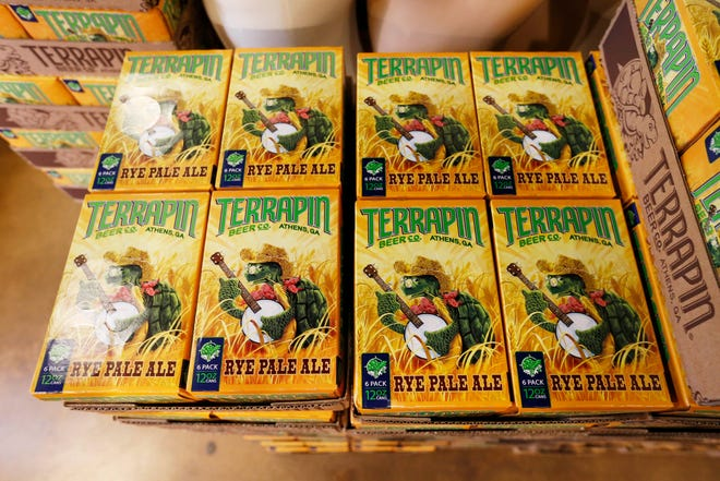 Pallets of Rye Pale Ale at the Terrapin Beer Co. brewery on Newton Bridge Road in Athens , Ga., on Friday, Feb. 26, 2021. The fan favorite is back for a limited release.