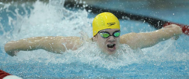 Copley's Joshua Hertz competes in the 200-yard individual medley during the Division II Swimming Championship at C.T. Branin Natatorium on Thursday. Hertz finished ninth and also finished fifth in the 100-yard breaststroke. [Jeff Lange/Beacon Journal]